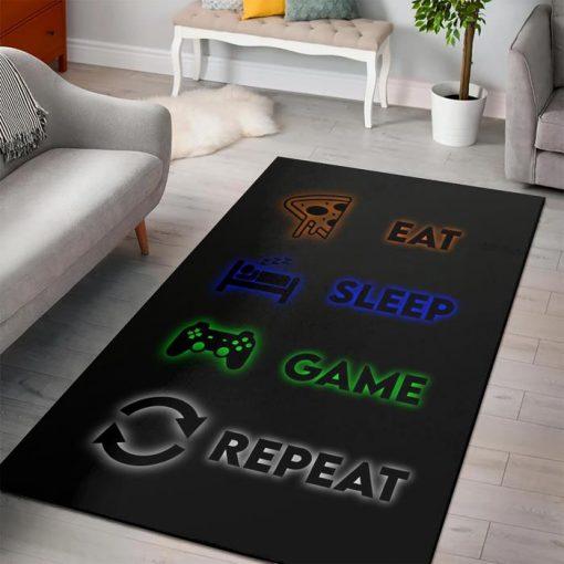 Minecraft Eat Sleep Game Repeat Rug