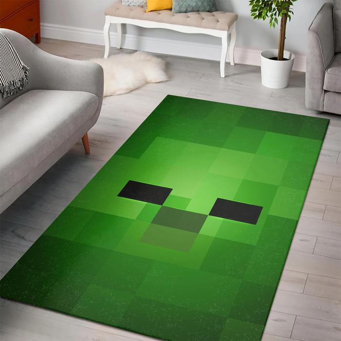 Minecraft Face Zombie Fan Art Rug