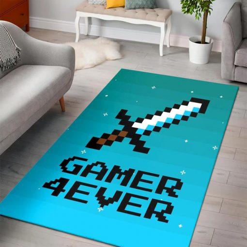 Minecraft Gamer 4ever With Sword Rug