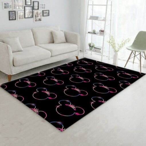 Minnie Mouse Black And Colorful Rug