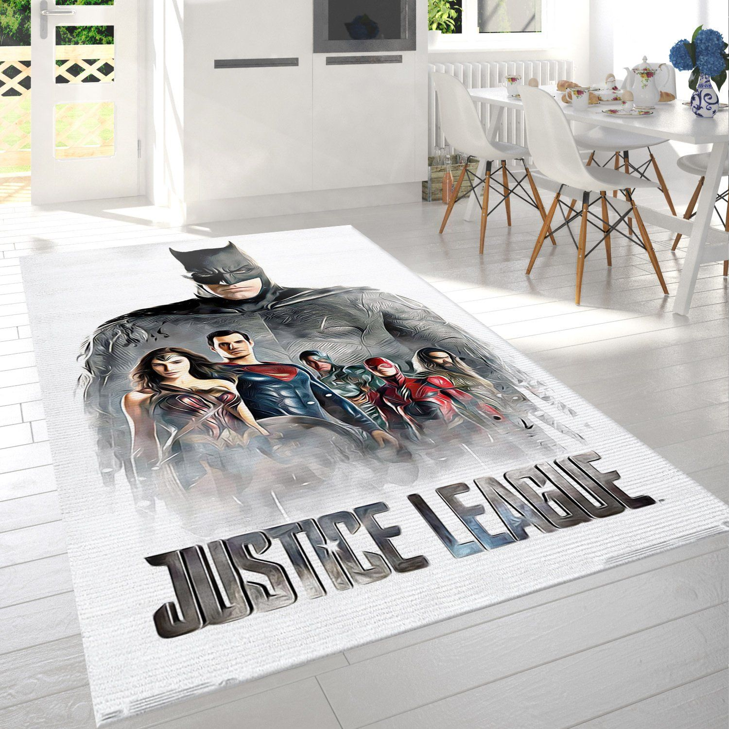 Justice League Characters In Mist Rug