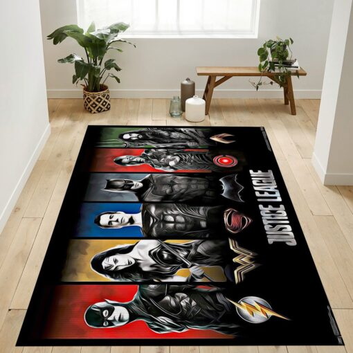 Heroes And Logo Justice League RugHeroes And Logo Justice League Rug