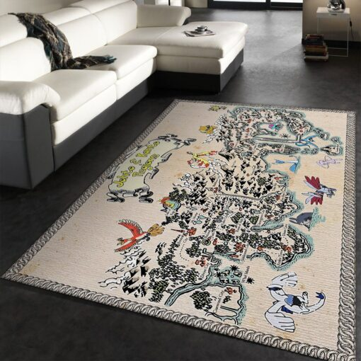 Kanto and Johto Regions Map Pokemon Rug
